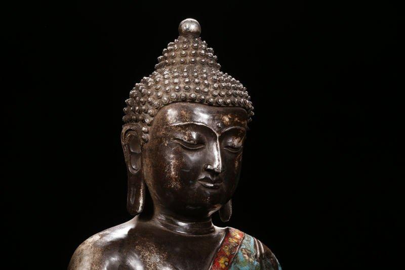 An Estate Peaceful Chinese Cloisonne Buddha Statue - 4