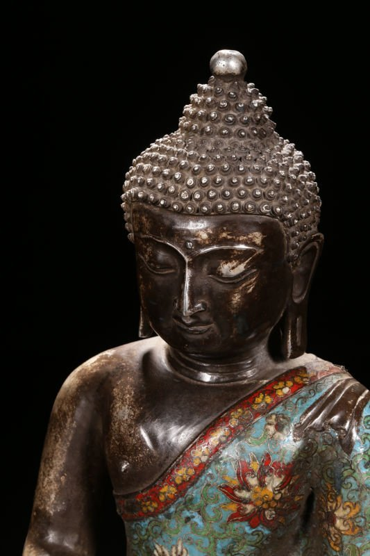 An Estate Peaceful Chinese Cloisonne Buddha Statue - 5