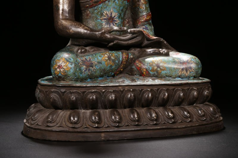 An Estate Peaceful Chinese Cloisonne Buddha Statue - 6