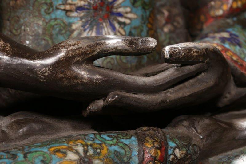 An Estate Peaceful Chinese Cloisonne Buddha Statue - 7