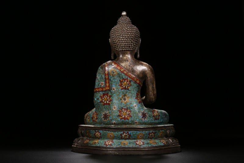 An Estate Peaceful Chinese Cloisonne Buddha Statue - 8