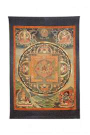 Chinese Qing Dynasty Seed Embroidered Thangka