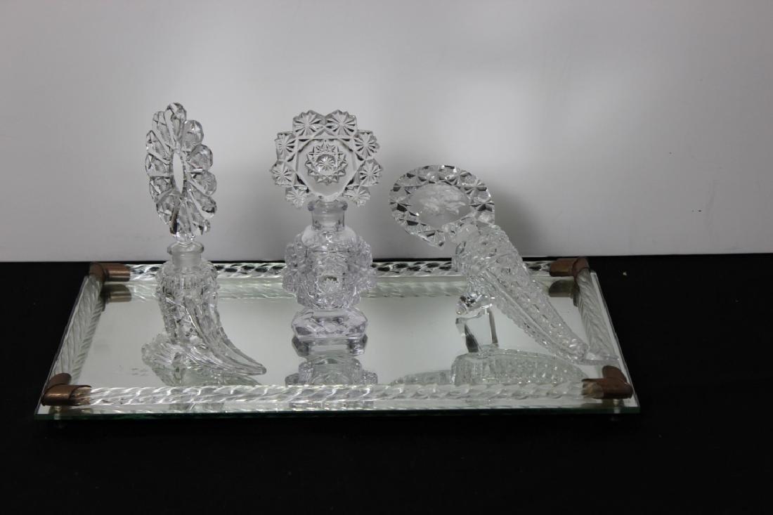 Vanity Mirror Tray w/ 3 Perfume Bottles