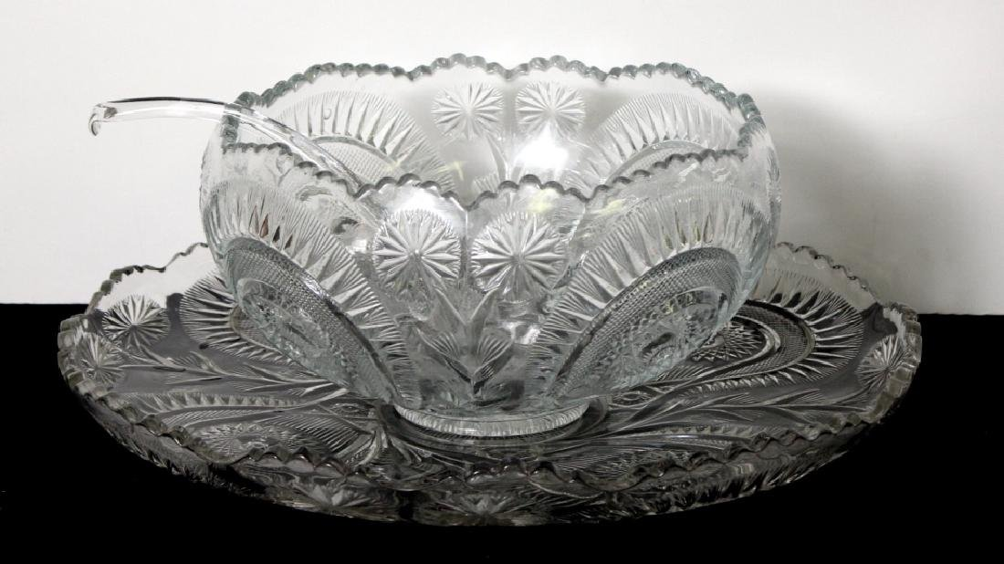 Vintage Punch Bowls w/matching glass tray