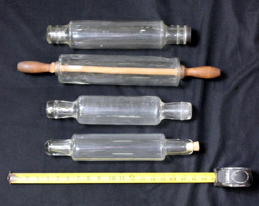 Four Vintage Glass Rolling Pins