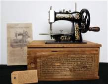Toy Sewing Machine, Stitchwell in wood box