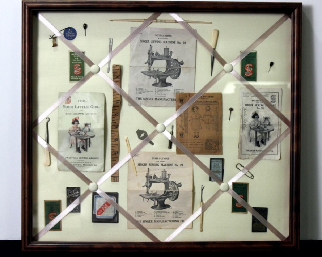 Custom Made Framed Vintage  Sewing Collage