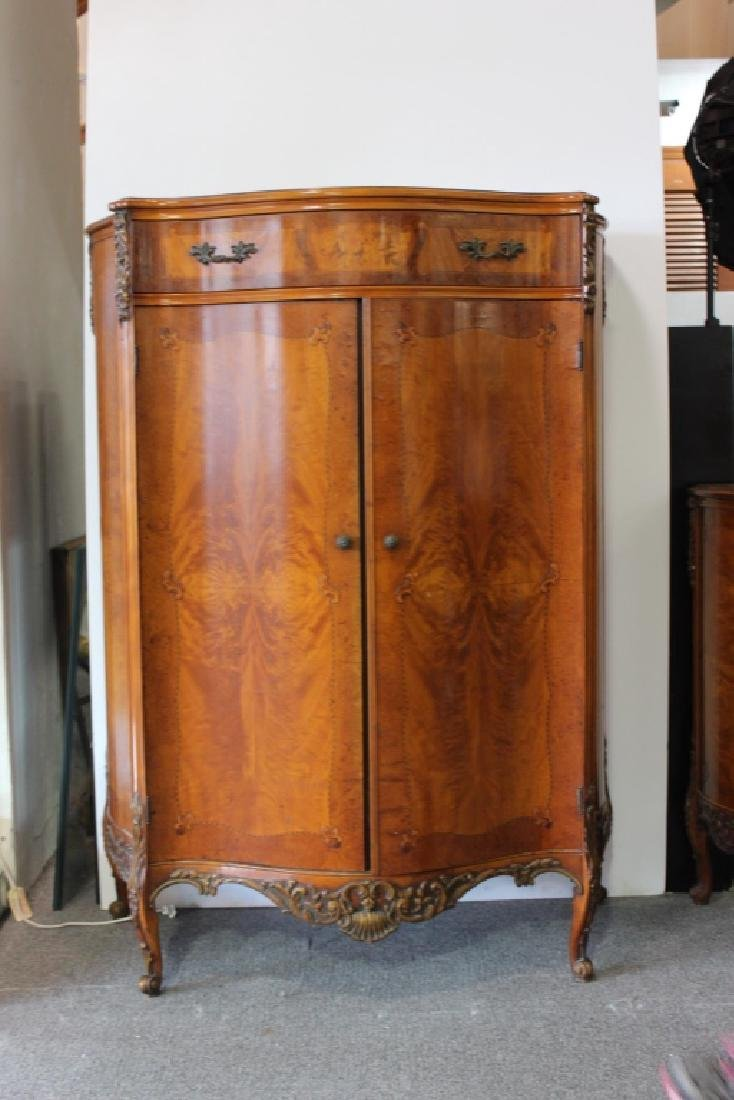 French Style Serpentine Inlaid Chest Of Drawers