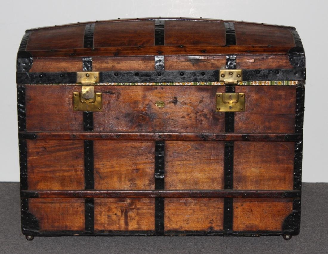 Dome Top Wood Steamer Trunk
