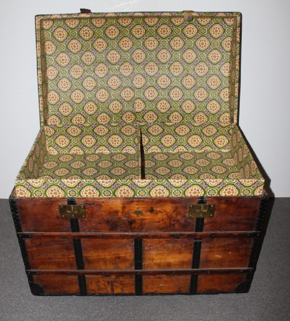 Dome Top Wood Steamer Trunk - 2