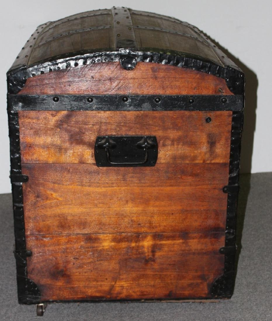 Dome Top Wood Steamer Trunk - 4