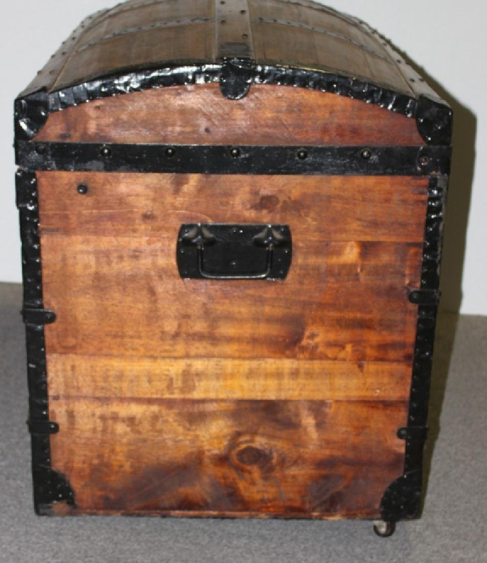 Dome Top Wood Steamer Trunk - 6