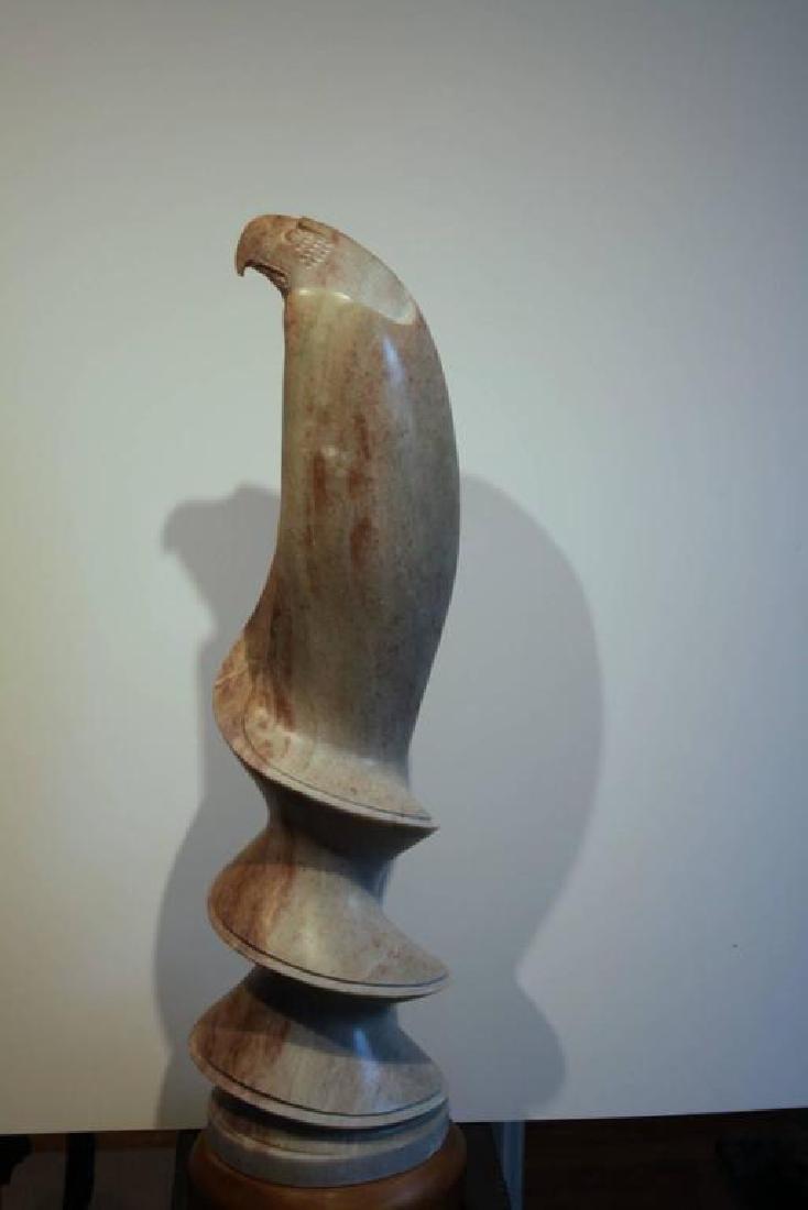 Tall Bald Eagle Soapstone Sculpture - 4