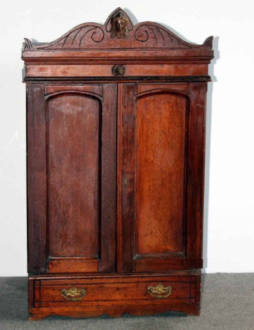 Victorian Wood Two Door Cabinet / Salesman Sample