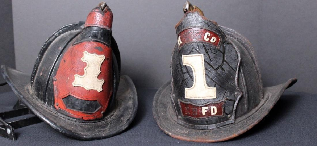 """Two (2) Cairnes """"High Eagle"""" Leather Fire Helmets."""