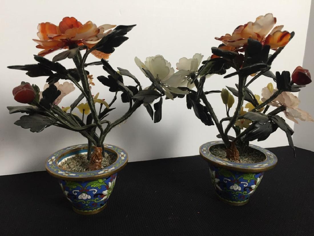 Soapstone Flowers in Cloisinase Pots (Pair)
