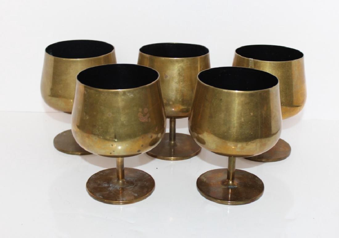 (5) Knoll Brass Goblets, c. 1965
