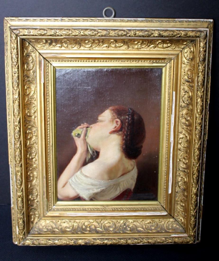 Friedrich Heimerdinger  (1817-1882) Girl and Bird.