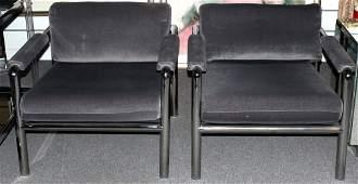 Pair Modern Chrome Frame Arm Chairs