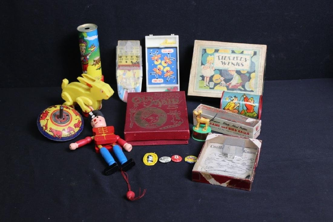 12 Vintage Toys and 4 Metal Pins