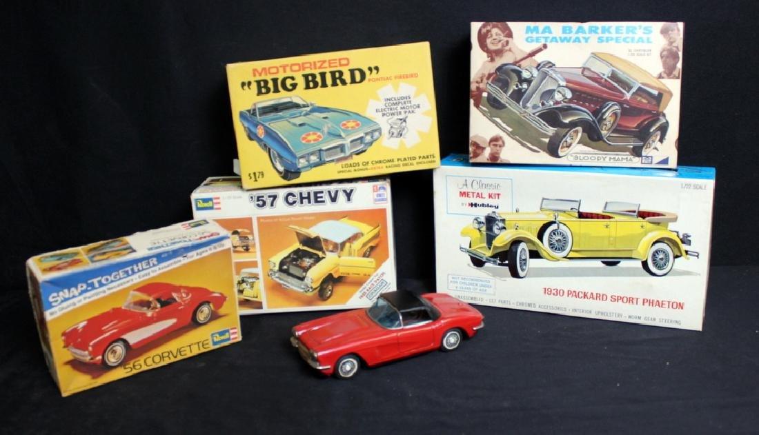 5 Vintage Boxed Car Kits & 1 Friction Car