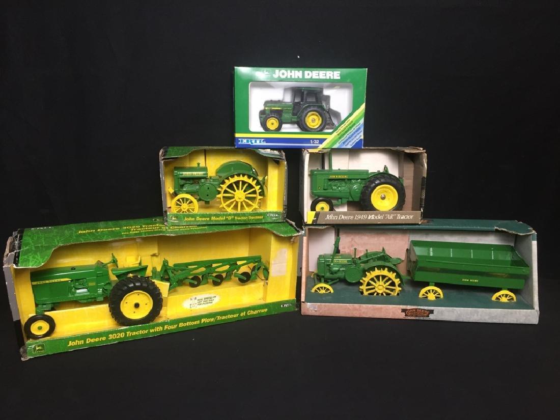 5 John Deere Die Cast Metal Farm Tractors