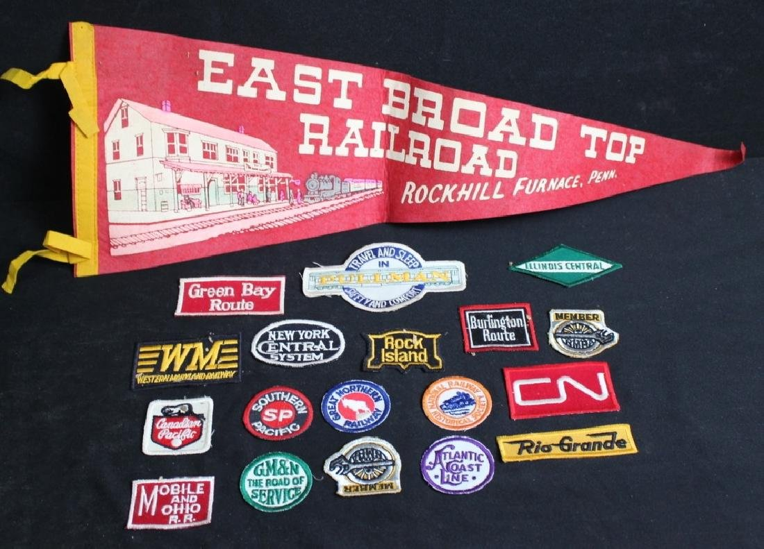 18 Vintage Railroad Patches & Pennant