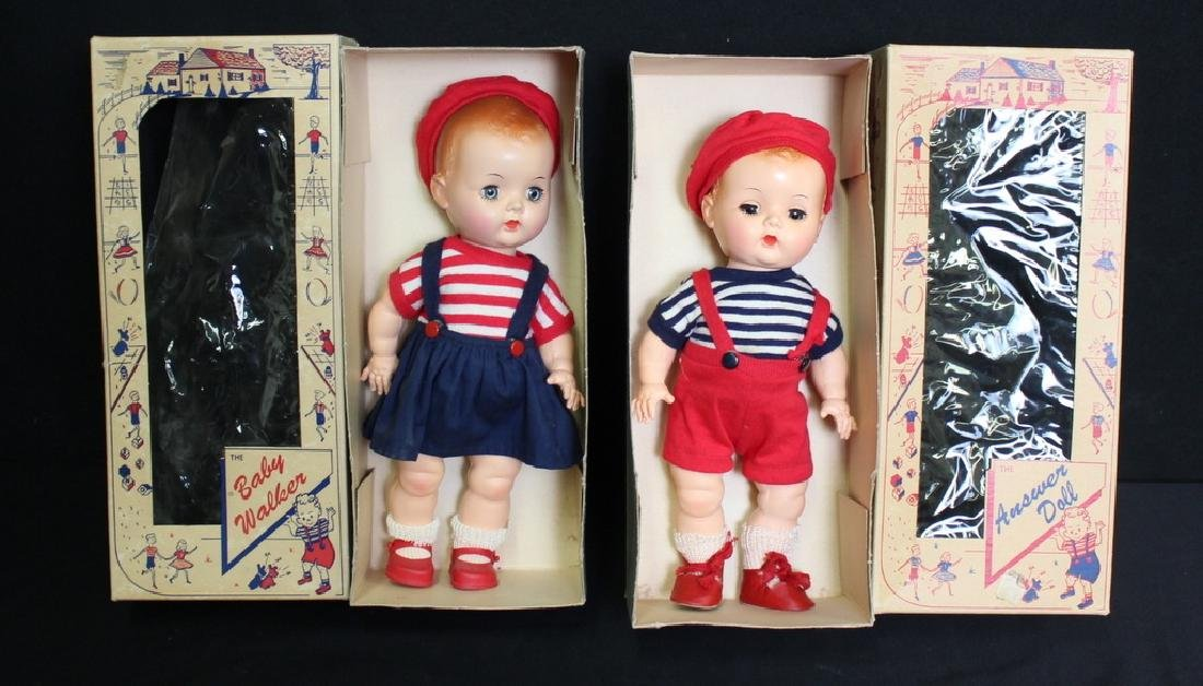 2 Vintage Hard Plastic Dolls in Org. Boxes