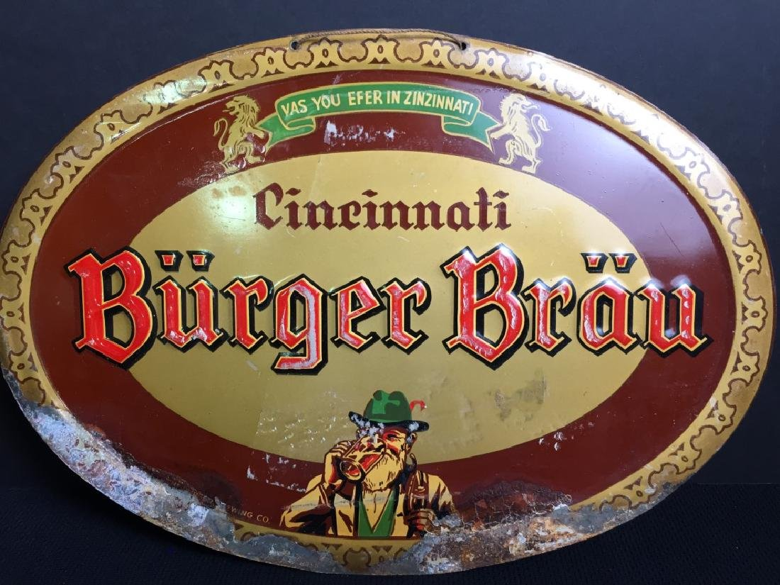 Cincinnati Burger Brau - Beer Sign