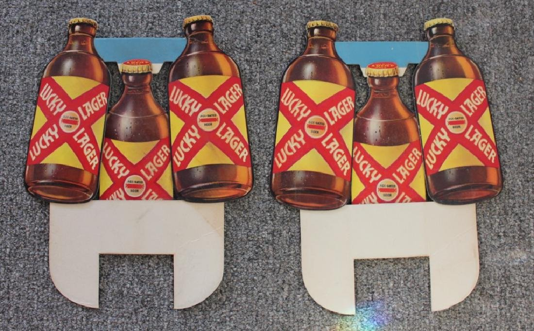 2 LUCKY LAGER Store Signs