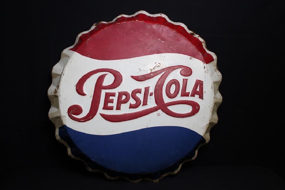 Pepsi-Cola Sign in Shape of Bottle Cap, Metal