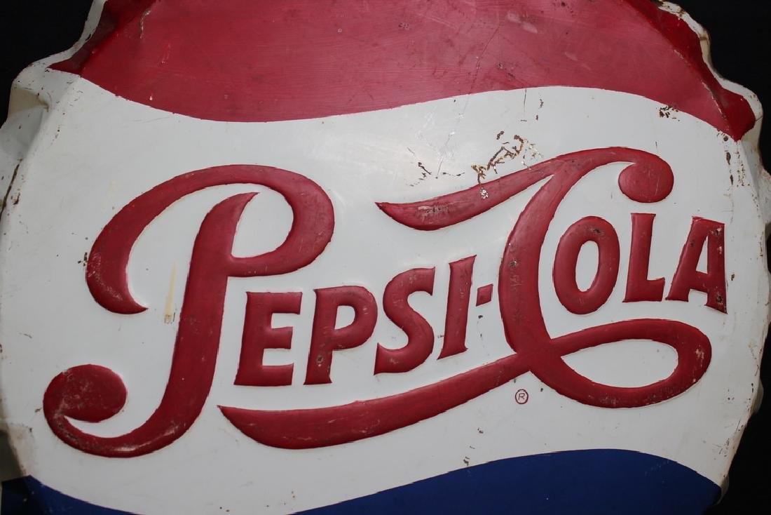 Pepsi-Cola Sign in Shape of Bottle Cap, Metal - 2