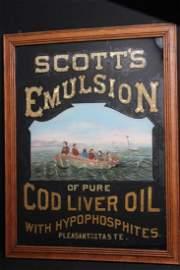 Scott's Emulsion Reverse On Glass Sign, Late 1800s
