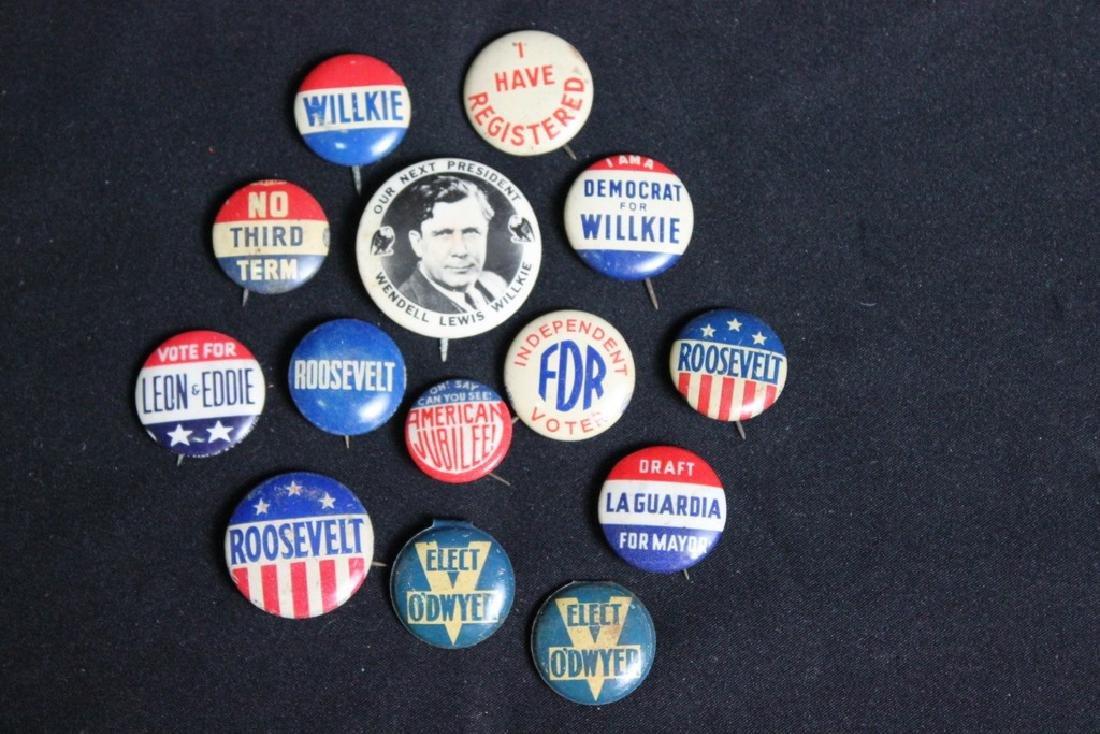 14 Political Pins 1940's