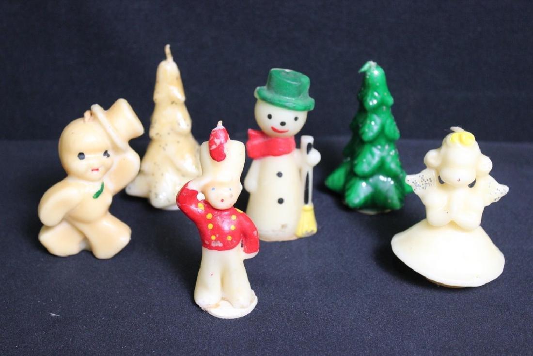 6 Vintage Wax Christmas Candles