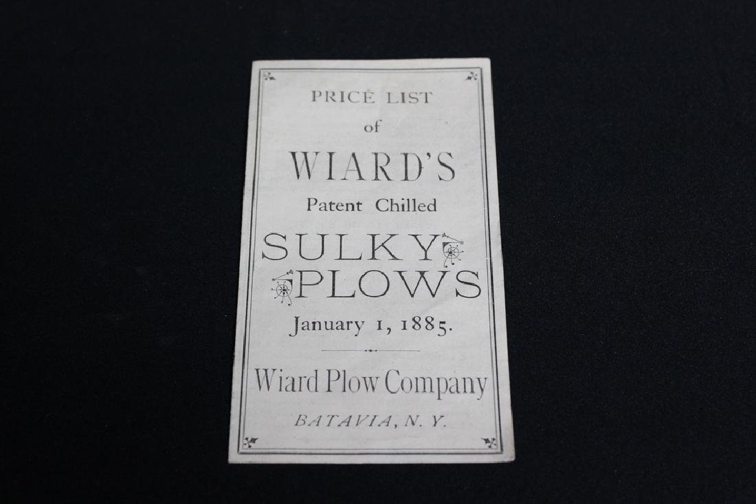 Price List of Wiard's Sulky Plows January 1, 1885