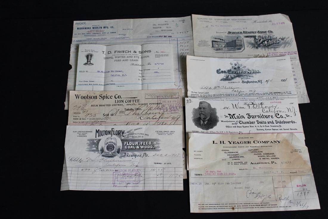 8 Store Receipts 1903-1919