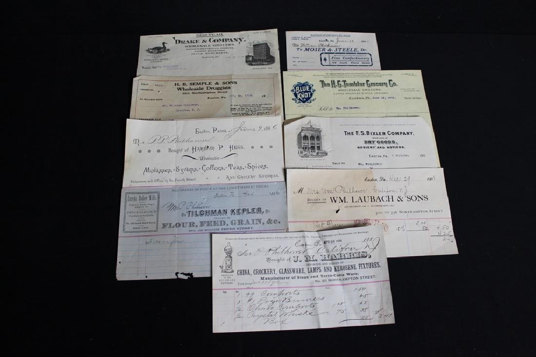 9 Store Receipts, Easton, PA 1886-1916