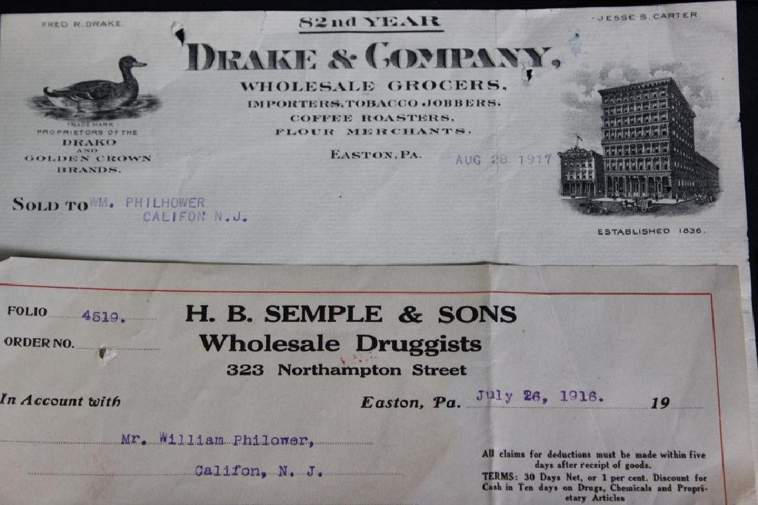9 Store Receipts, Easton, PA 1886-1916 - 2