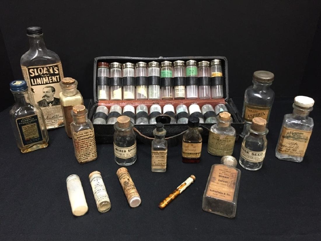 Grouping of Clear Medicine Bottles
