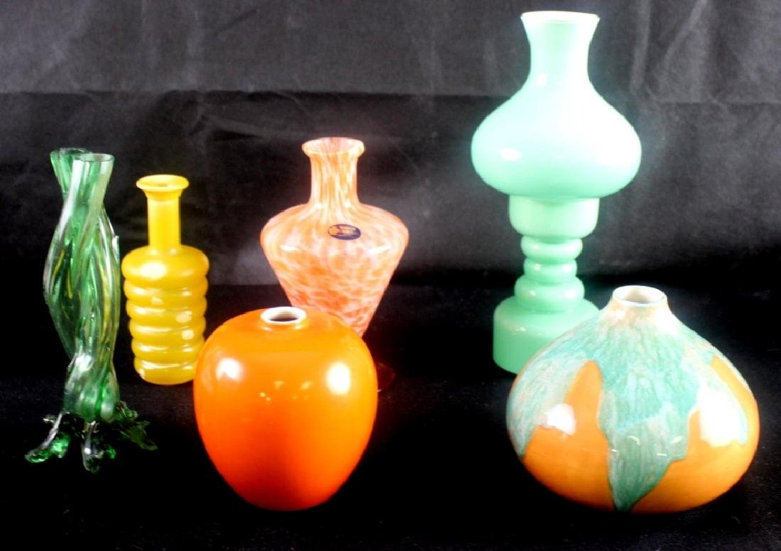 7 Art Glass Czech Vintage Vases