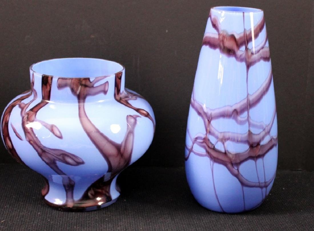 Vintage Czechoslovakia Art Glass Vases (2)