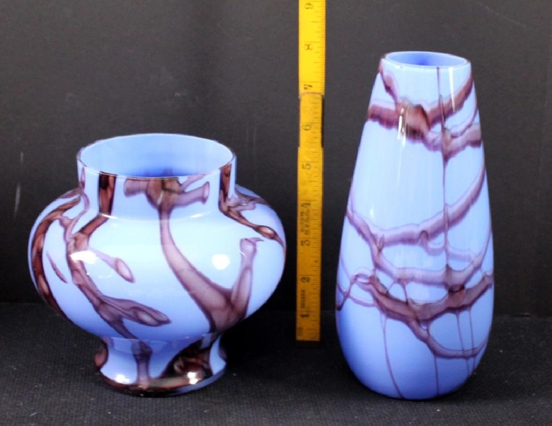 Vintage Czechoslovakia Art Glass Vases (2) - 2