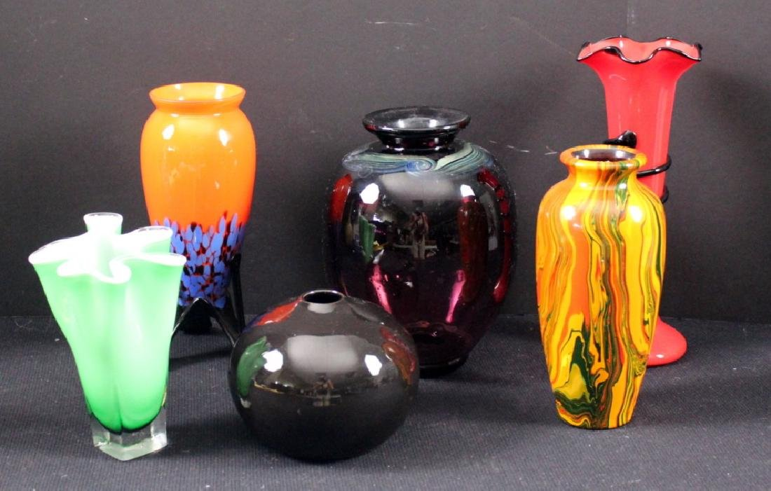 6 Art Glass Czech Vintage Vases