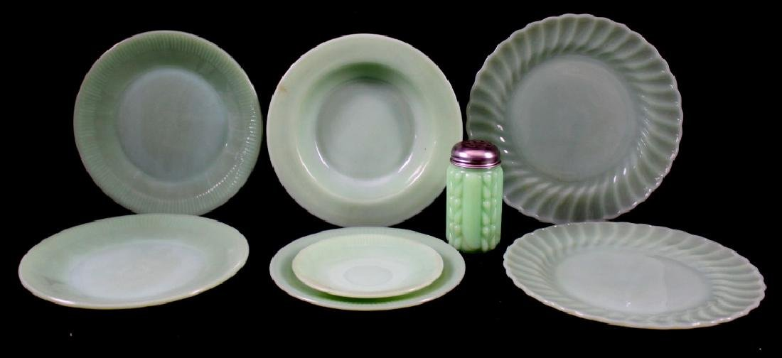 Fire King Jadeite Dishes & Shaker (8 Pieces)