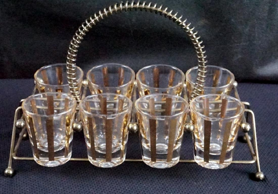 Vintage 1960's Set of 8 Shot Glasses and Rack