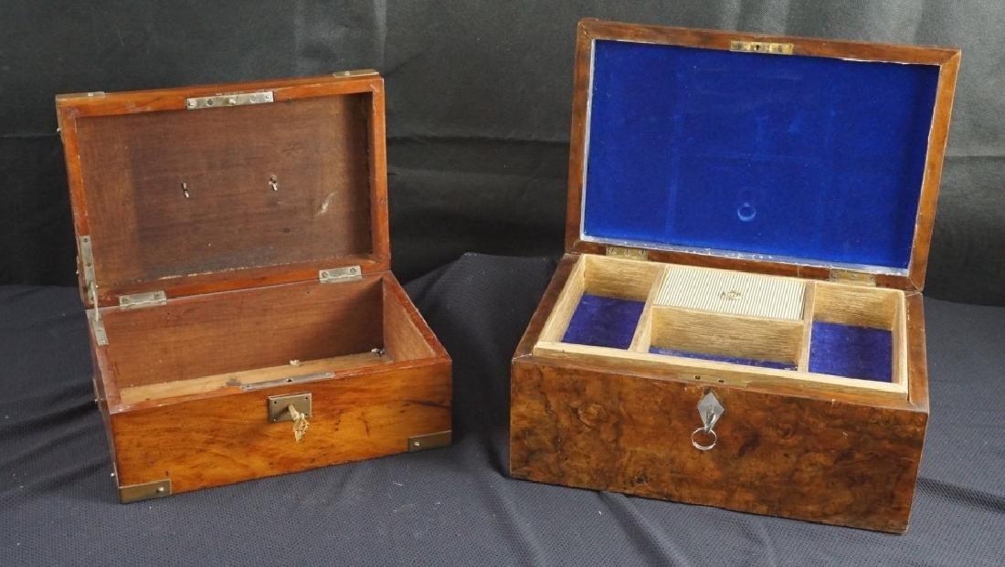 Antique Wood Jewel & Lock Boxes (2)