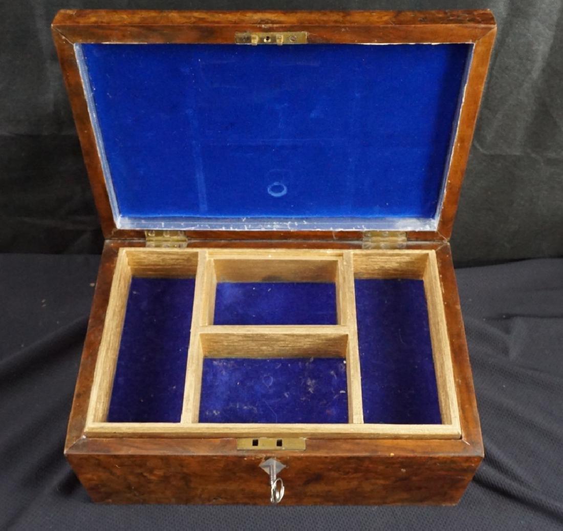 Antique Wood Jewel & Lock Boxes (2) - 4