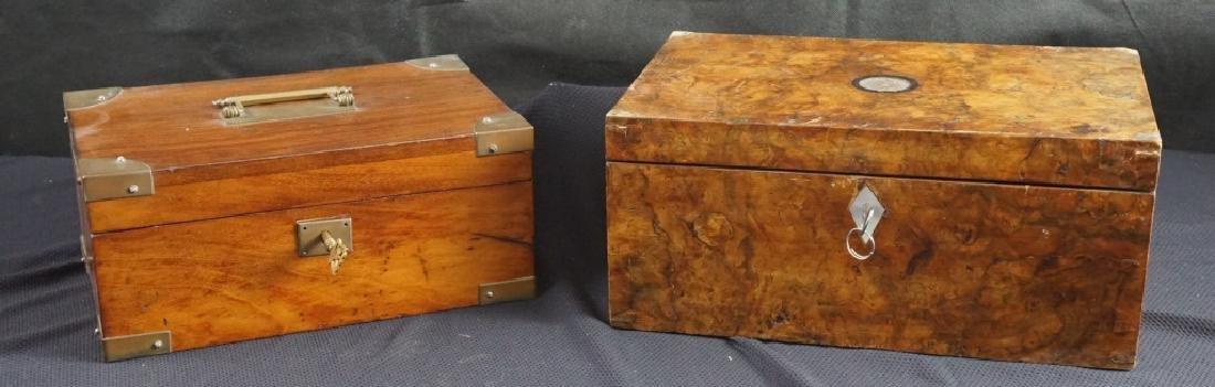 Antique Wood Jewel & Lock Boxes (2) - 7