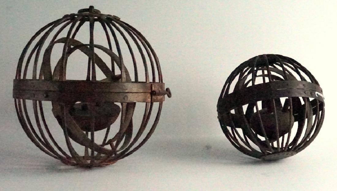 Rare Antique Triple Gimbal Iron Whaler Lanterns-2